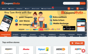 coupons and cashback offers in Couponshub