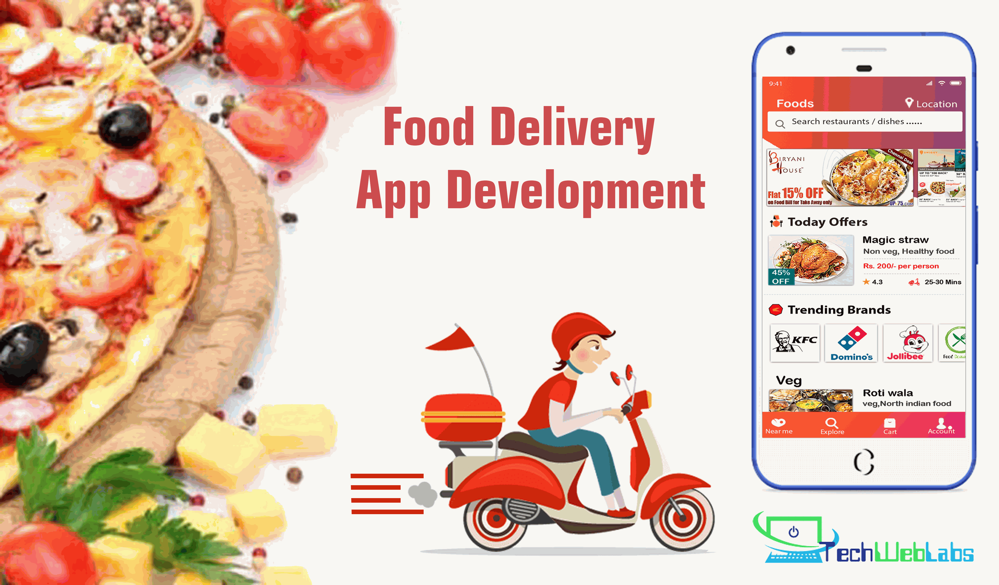 Food delivery app development solutions - Techweblabs